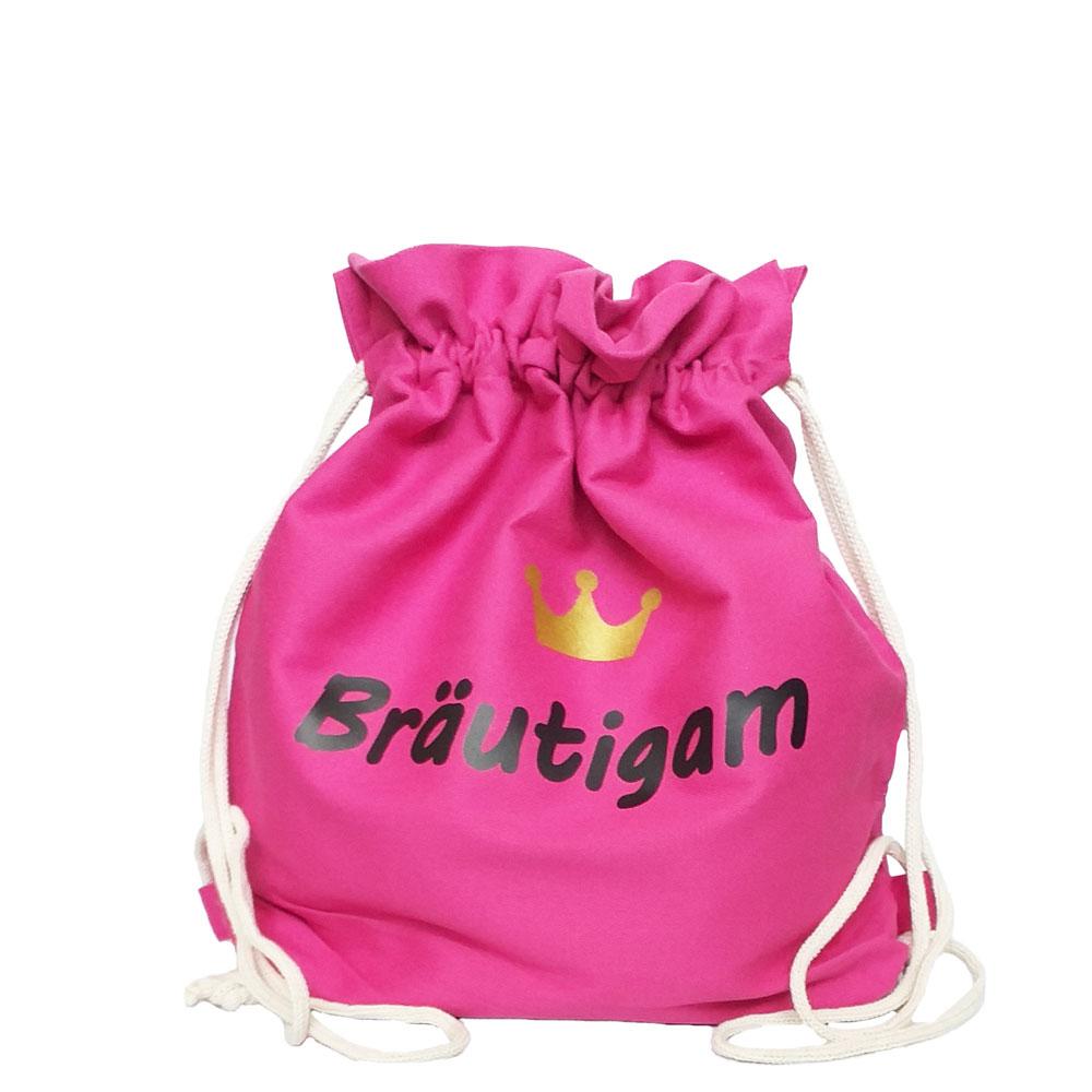 Pinkfarbener Mini JGA Ruckack-Beutel mit Bräutigam-Motiv