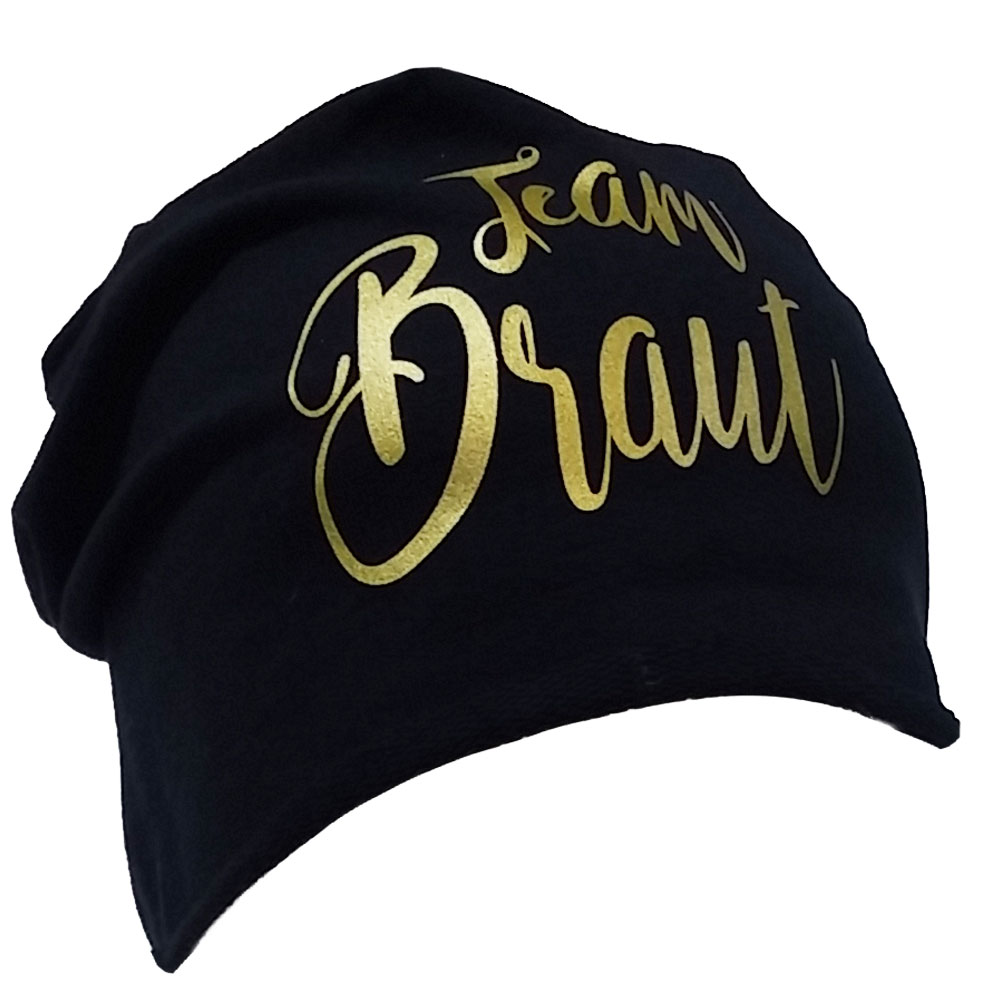 Schwarze JGA Beanie-Muetze mit goldfarbenem Team Braut-Schriftzug