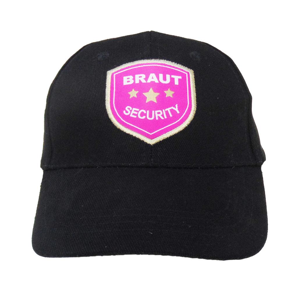 Schwarze JGA Cap mit Braut Security Badge
