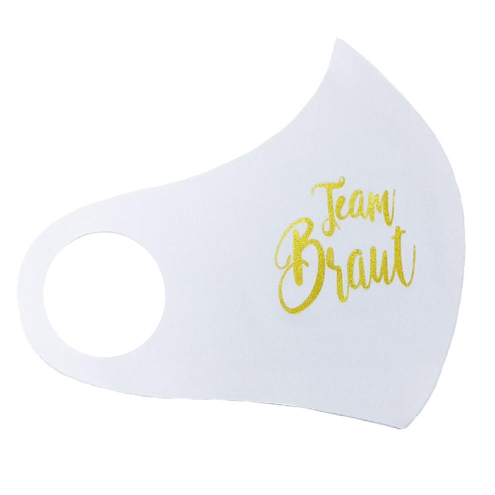 Mund-Nasen-Maske mit goldfarbenem Team Braut-Aufdruck für den JGA