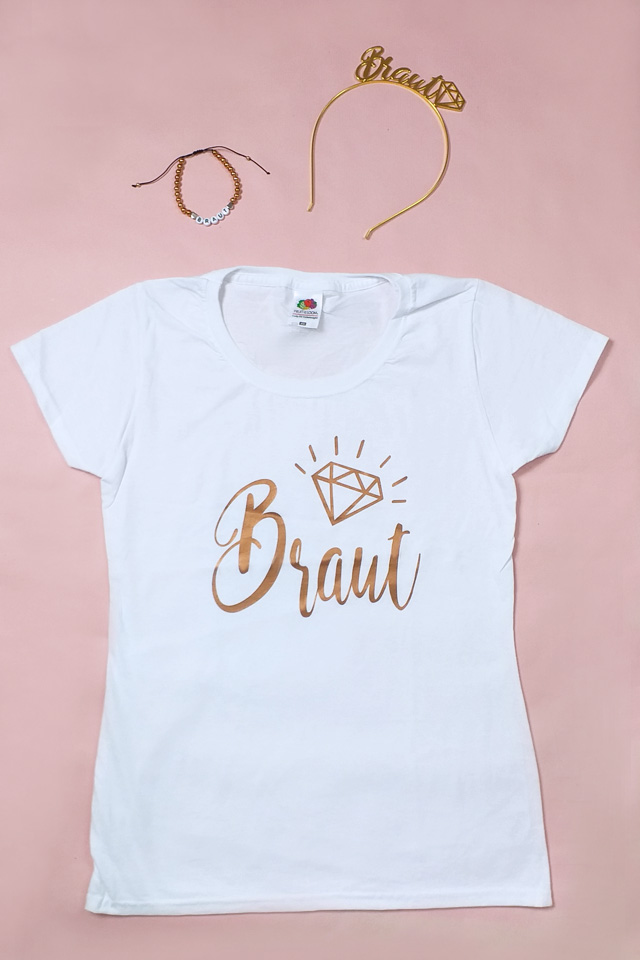 JGA Outfit Braut in Kupfer-Gold