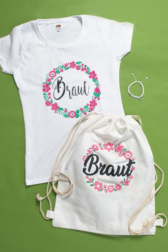 Stilvolles JGA Braut-Outfit im Blumenkranz-Design