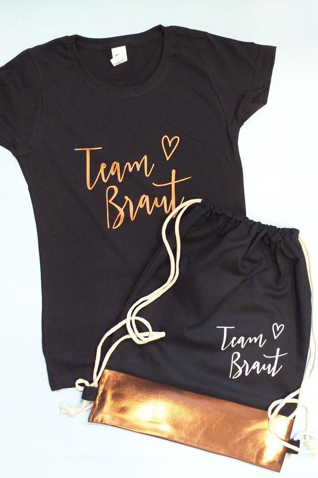 Team Braut JGA-Outfit in Schwarz-Kupfer - Shirt und Beutel