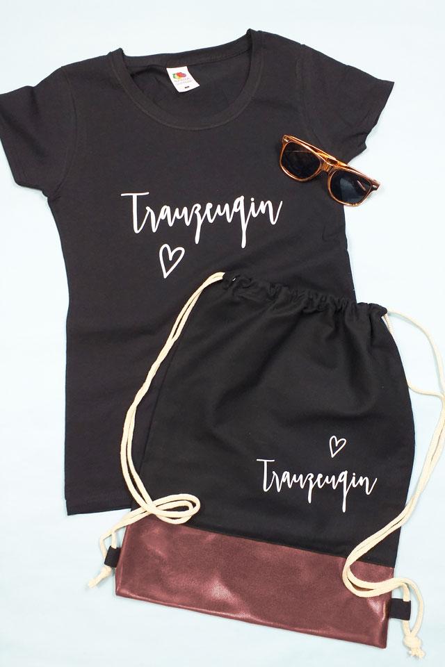 Trauzeugin JGA-Outfit - Shirt und Beutel im Rosegold-Design