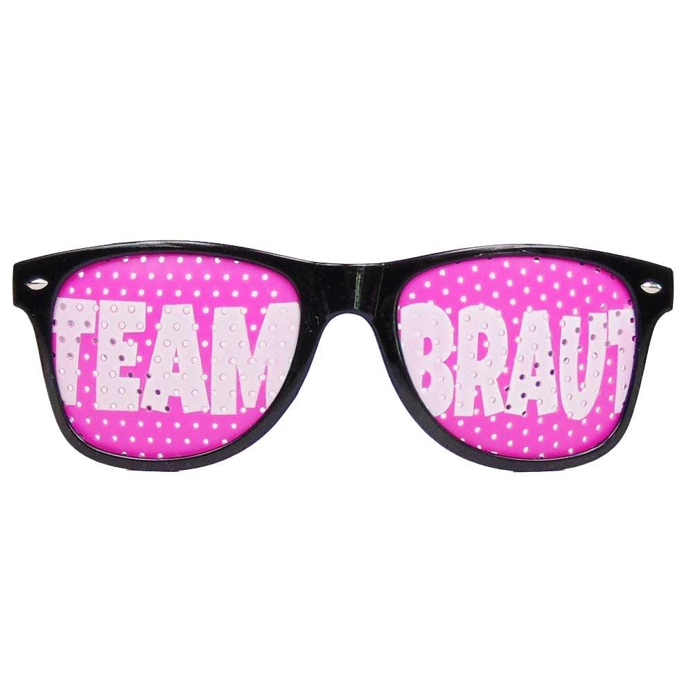 JGA Brille in Schwarz-Pink mit Team Braut-Schriftzug