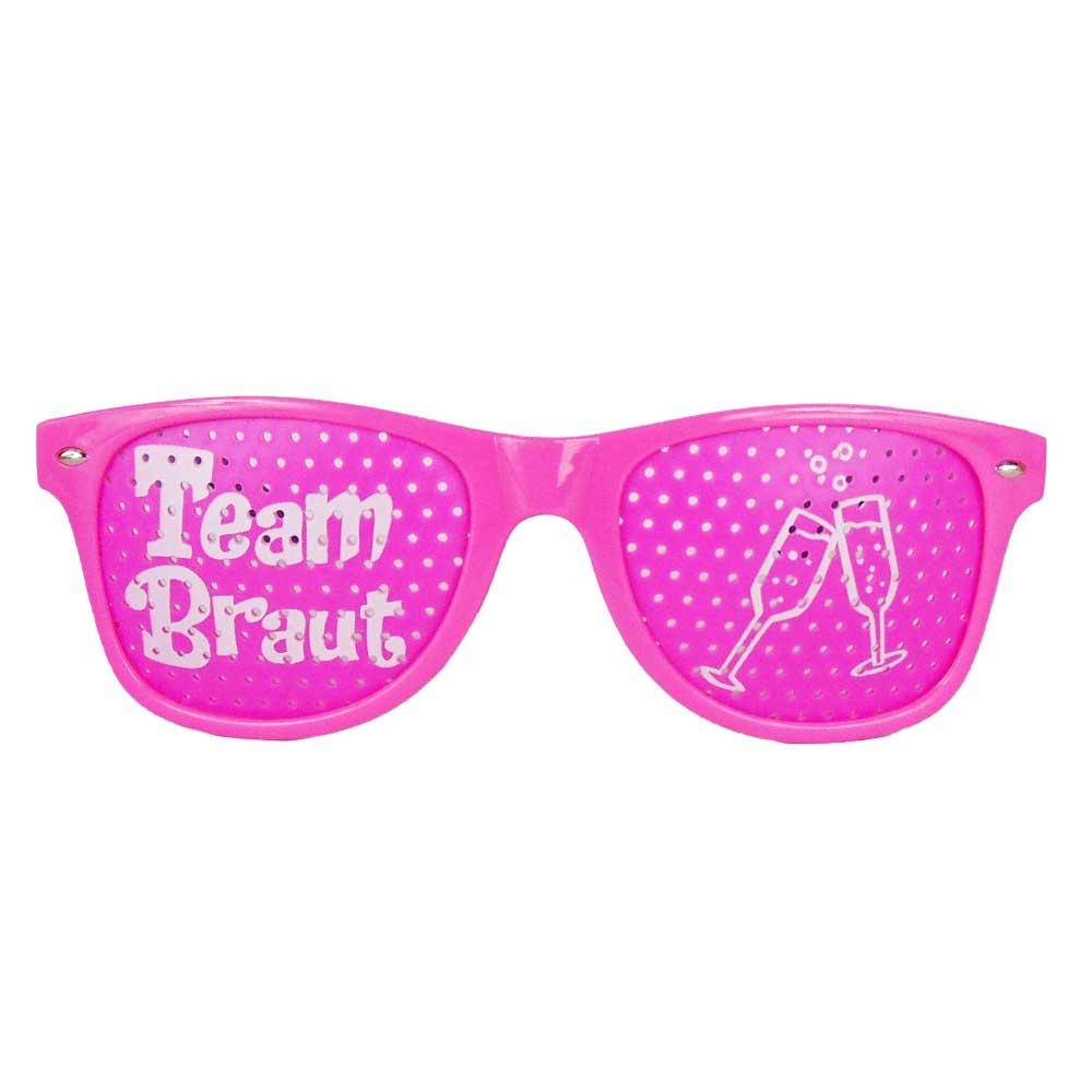 Pinkfarbene Team Braut JGA Brille mit Sektglas-Motiv