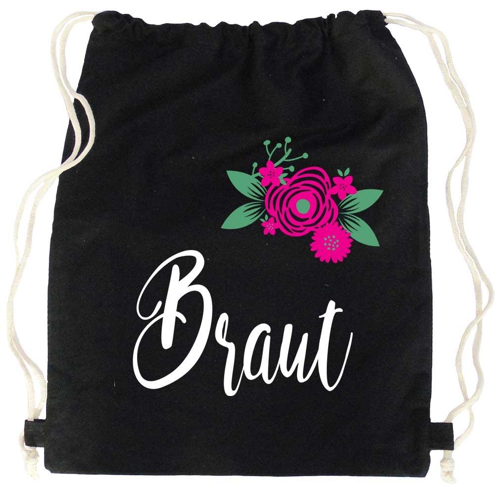 Schwarzer JGA Turnbeutel mit Braut-Schriftzug und Blumen