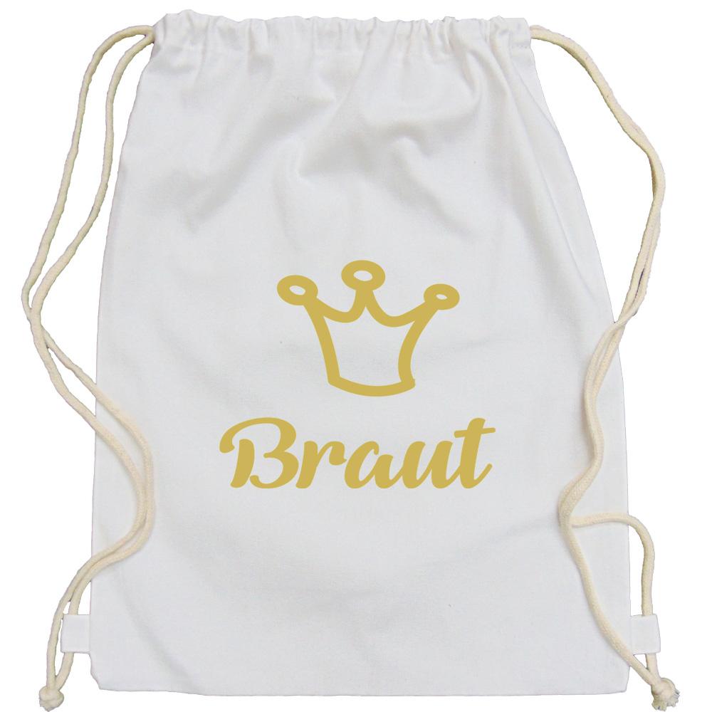 Weißer Braut-Rucksack mit goldfarbener Krone für den Junggesellinnenabschied