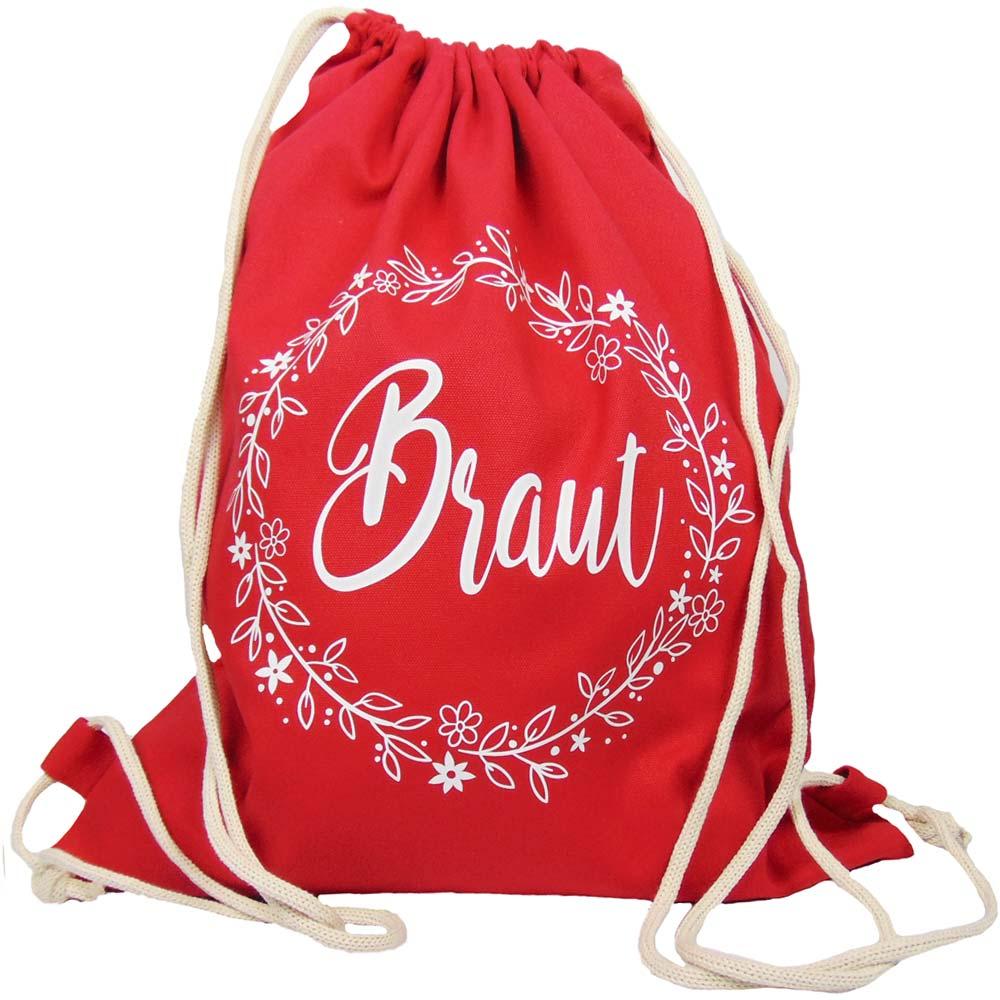 Roter JGA Braut-Turnbeutel mit Blumen