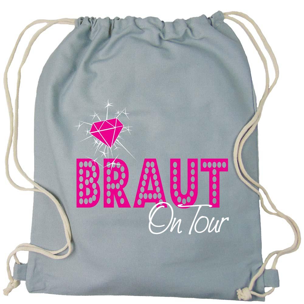 Grauer Rucksack mit Braut on Tour-Motiv fuer den Junggesellenabschied