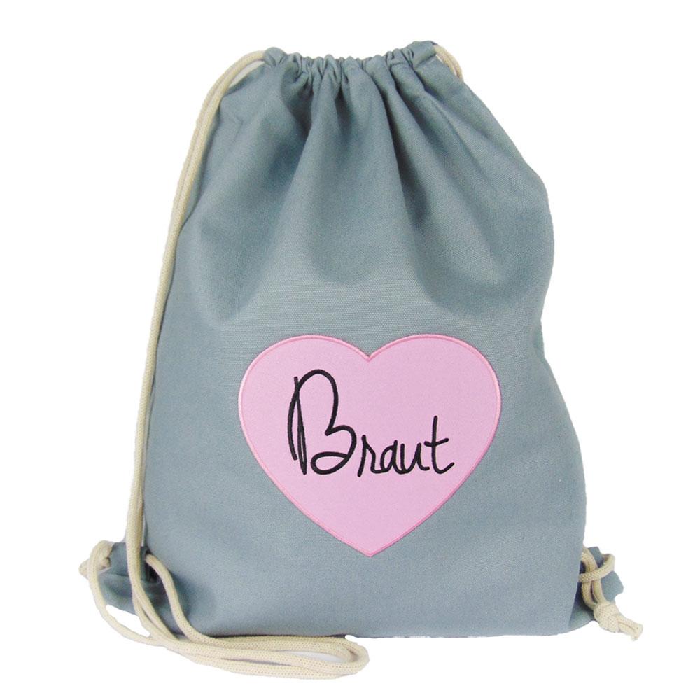 JGA Buegelbild Rucksack Braut - Grau mit rosa Herz im Aufnaeher-Design