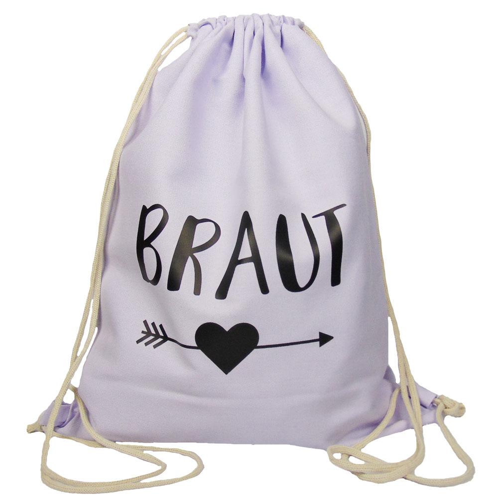 Fliederfarbener JGA Braut-Turnbeutel mit schwarzem Herz und Pfeil-Motiv