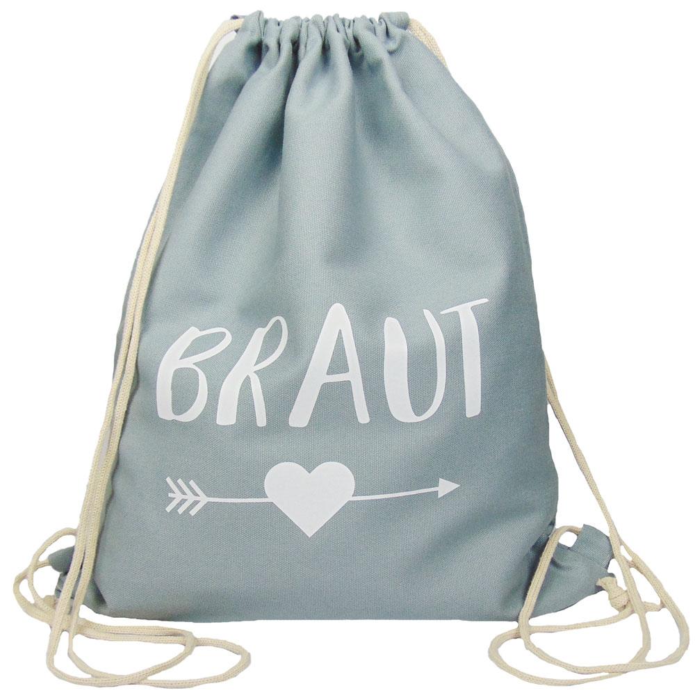 Grauer JGA Braut-Turnbeutel mit schwarzem Herz und Pfeil-Motiv