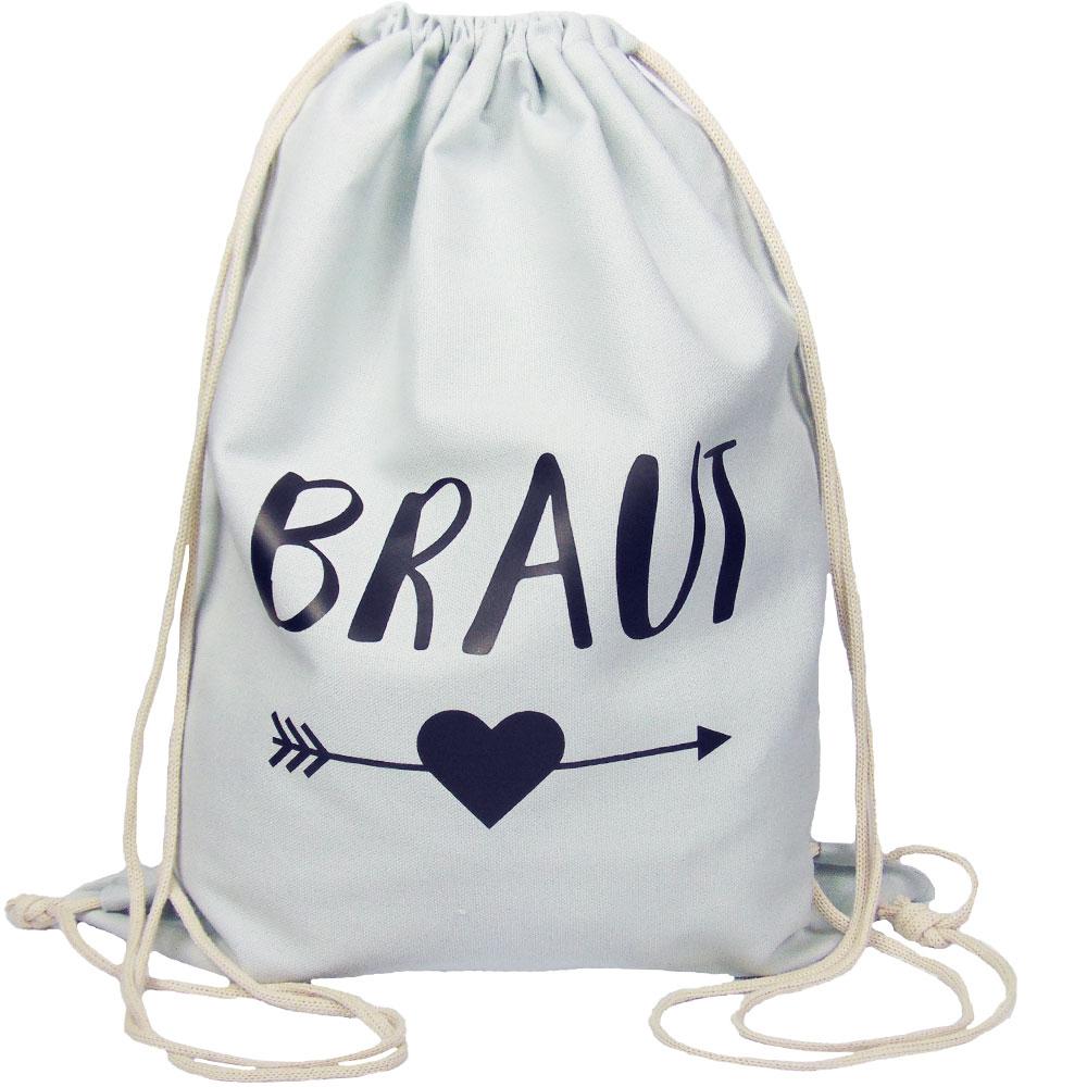 ,Hellgrauer JGA Braut-Turnbeutel mit schwarzem Herz und Pfeil-Motiv