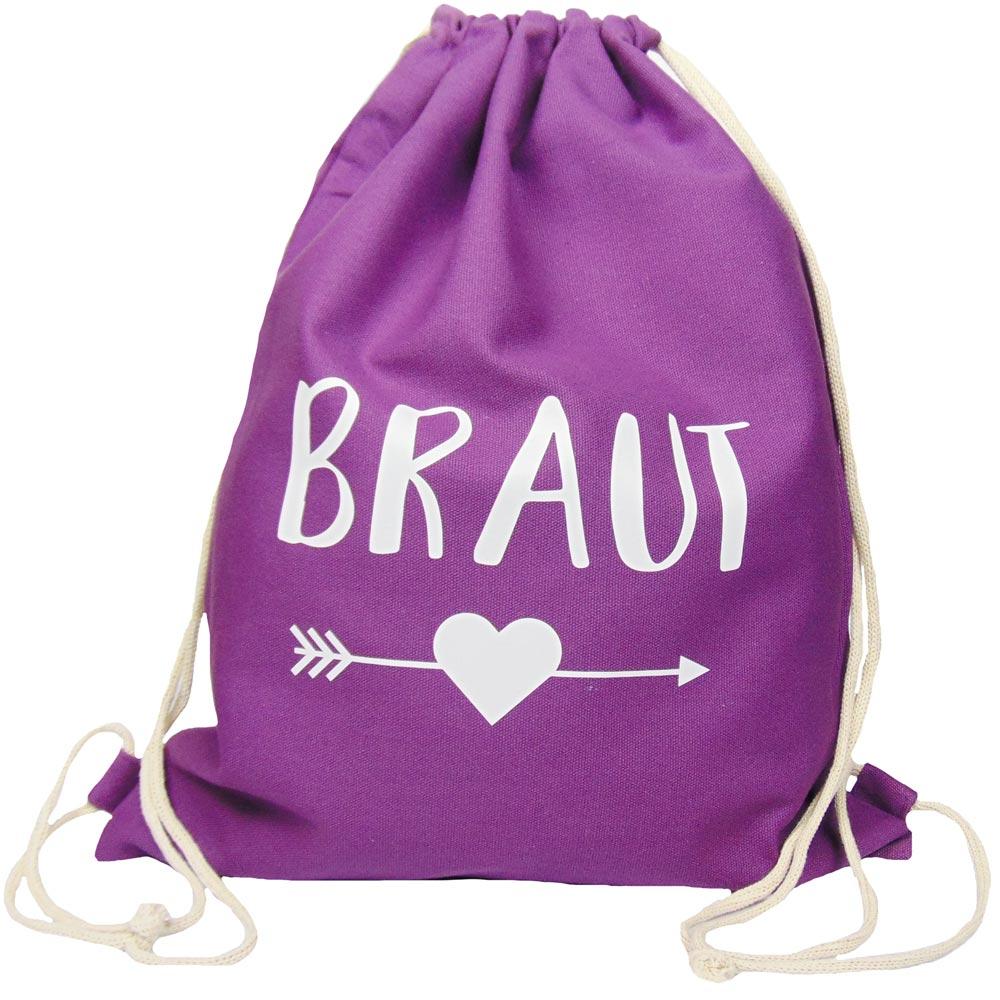 Lilafarbener JGA Braut-Turnbeutel mit schwarzem Herz und Pfeil-Motiv