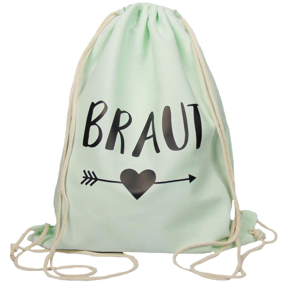Mintgruener JGA Braut-Turnbeutel mit schwarzem Herz und Pfeil-Motiv