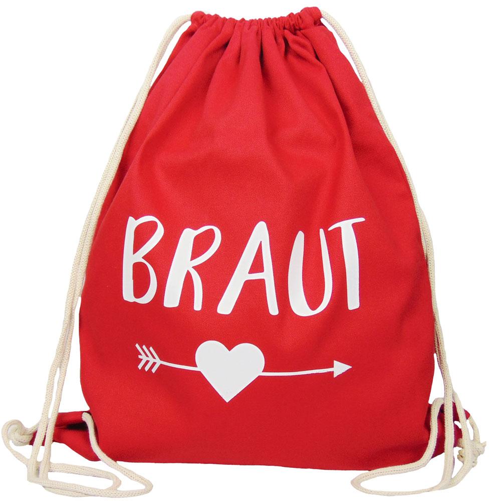 Roter JGA Braut-Turnbeutel mit schwarzem Herz und Pfeil-Motiv
