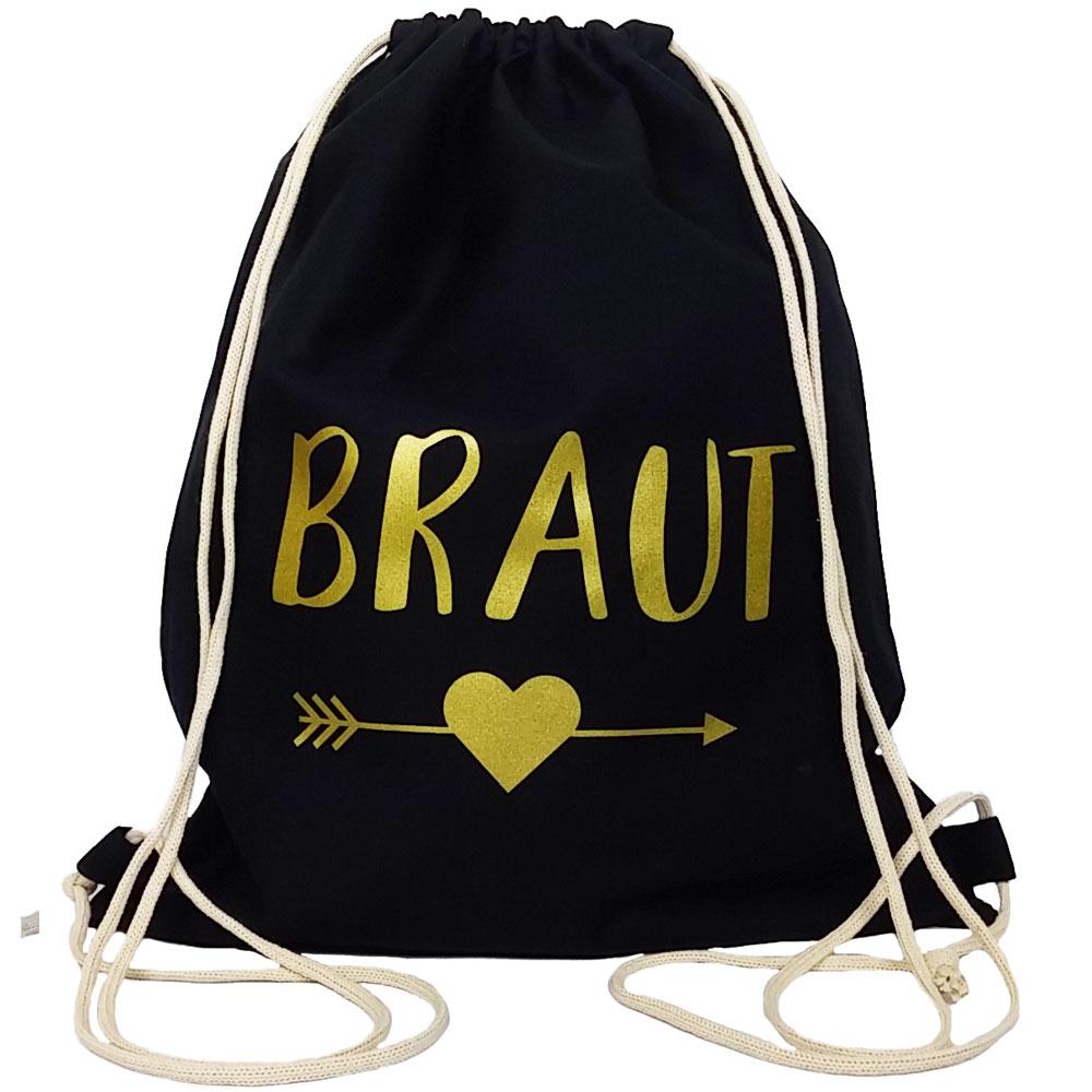 Schwarzer JGA Braut-Turnbeutel mit goldfarbenem Herz und Pfeil-Motiv