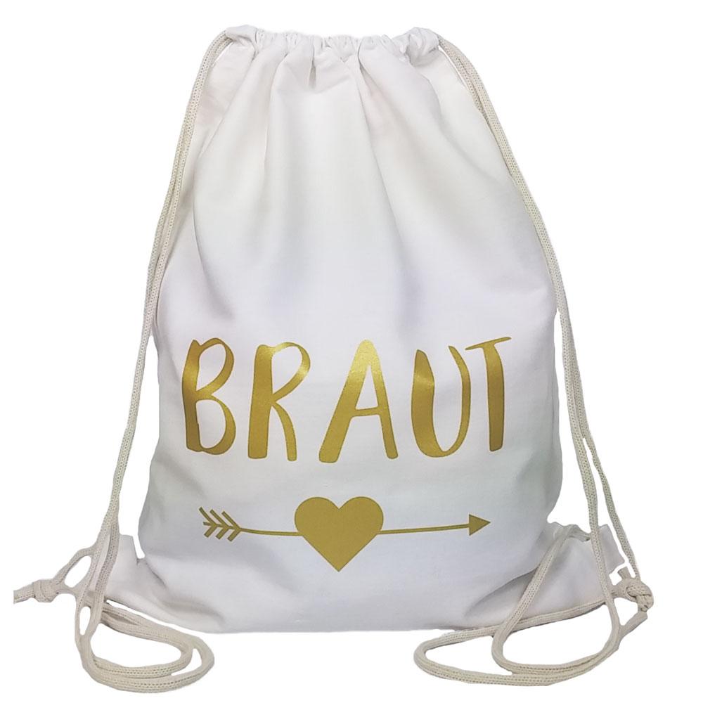 Weisser JGA Braut-Turnbeutel mit goldfarbenem Herz und Pfeil-Motiv