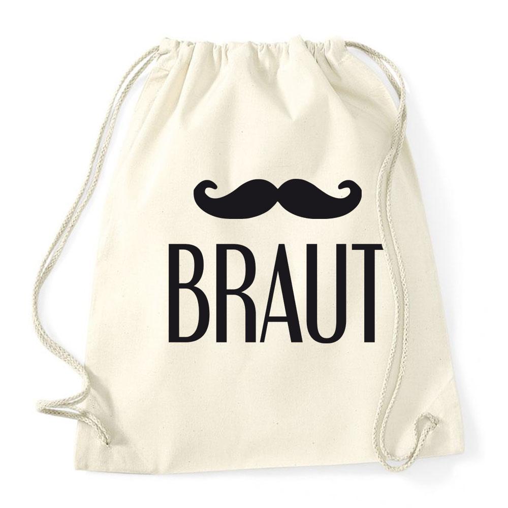 Junggesellinnenabschied-Rucksack mit Braut-Schriftzug und Schnurrbart