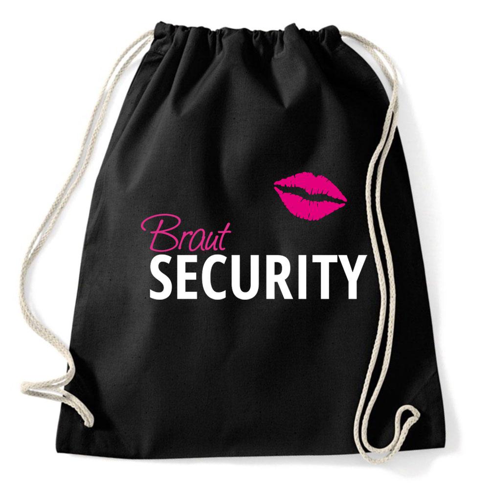Junggesellinnenabschied-Rucksack mit Braut Security-Motiv – schwarz