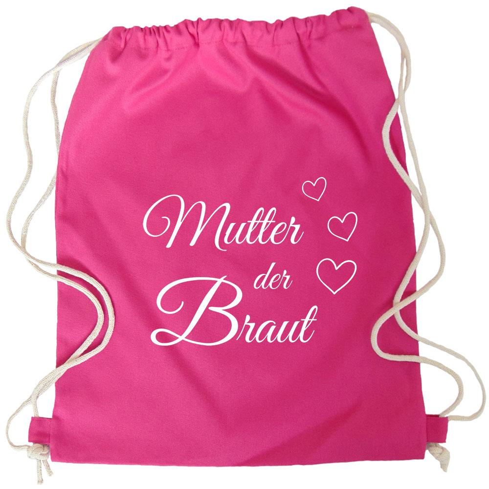 Pinkfarbener Brautmutter-Rucksack mit Herzen für den Junggesellenabschied