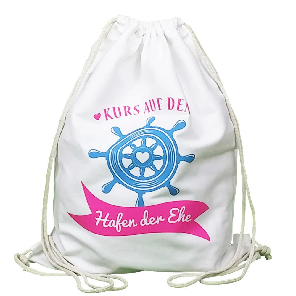 Weißer JGA Turnbeutel-Rucksack mit Hafen der Ehe-Aufdruck