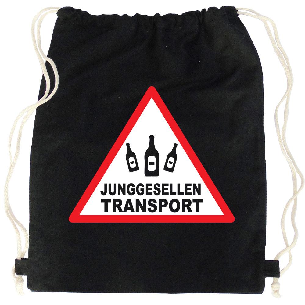 Schwarzer JGA-Rucksack mit Junggesellen-Transport-Aufdruck