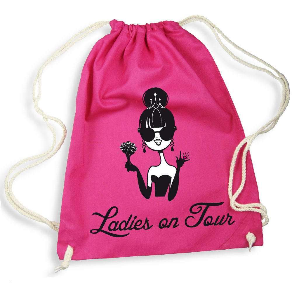 Pinkfarbener Rucksack mit Ladies on Tour-Motiv
