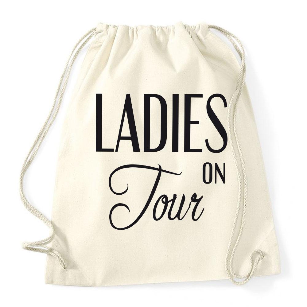 JGA-Rucksack im Vintage-Look mit Ladies on Tour-Motiv