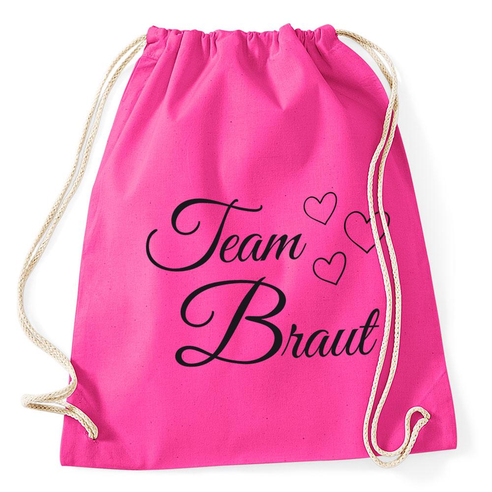 Pinkfarbener JGA-Rucksack mit Team Braut-Schriftzug und Herzen