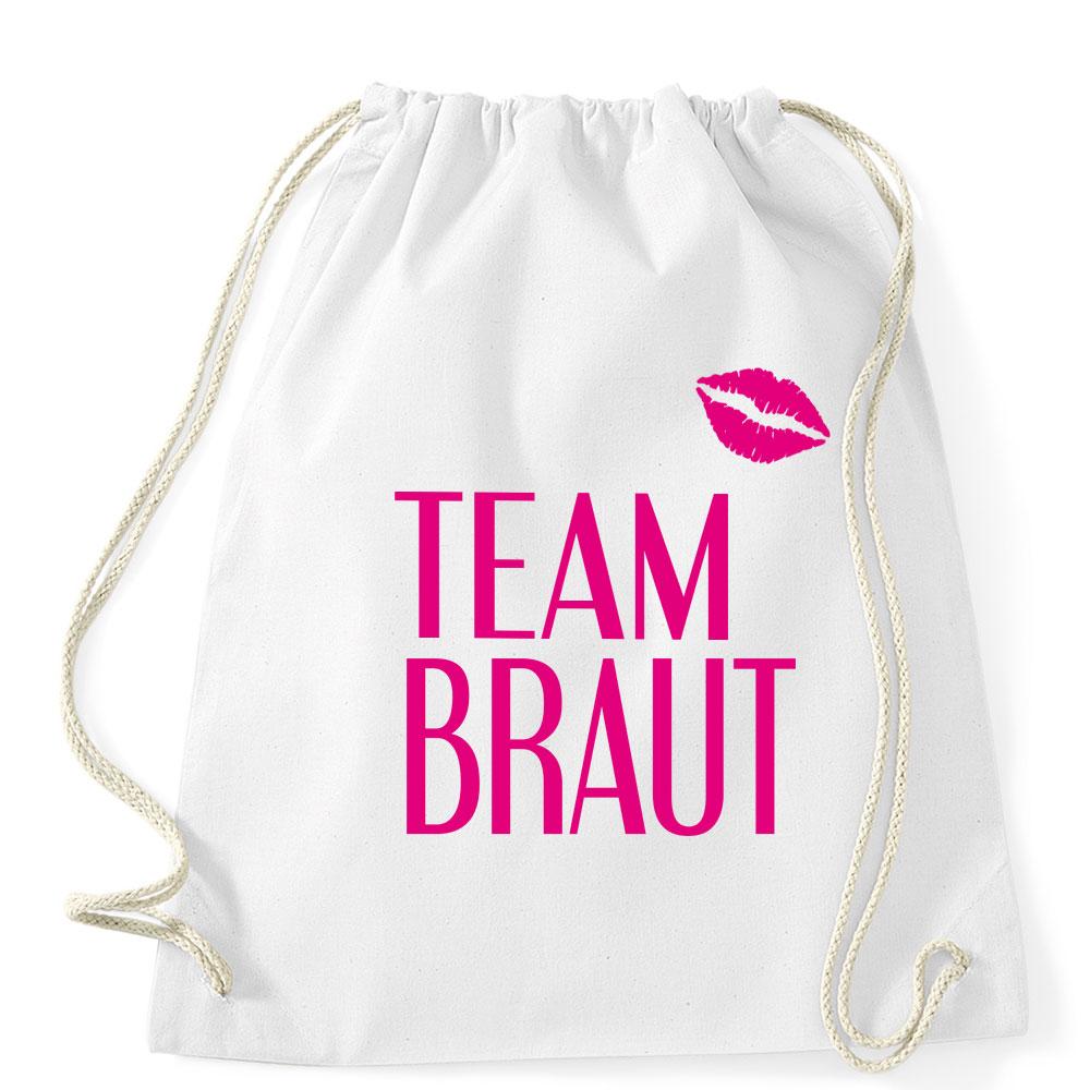 Team Braut-Rucksack mit Kussmund für den JGA – weiss