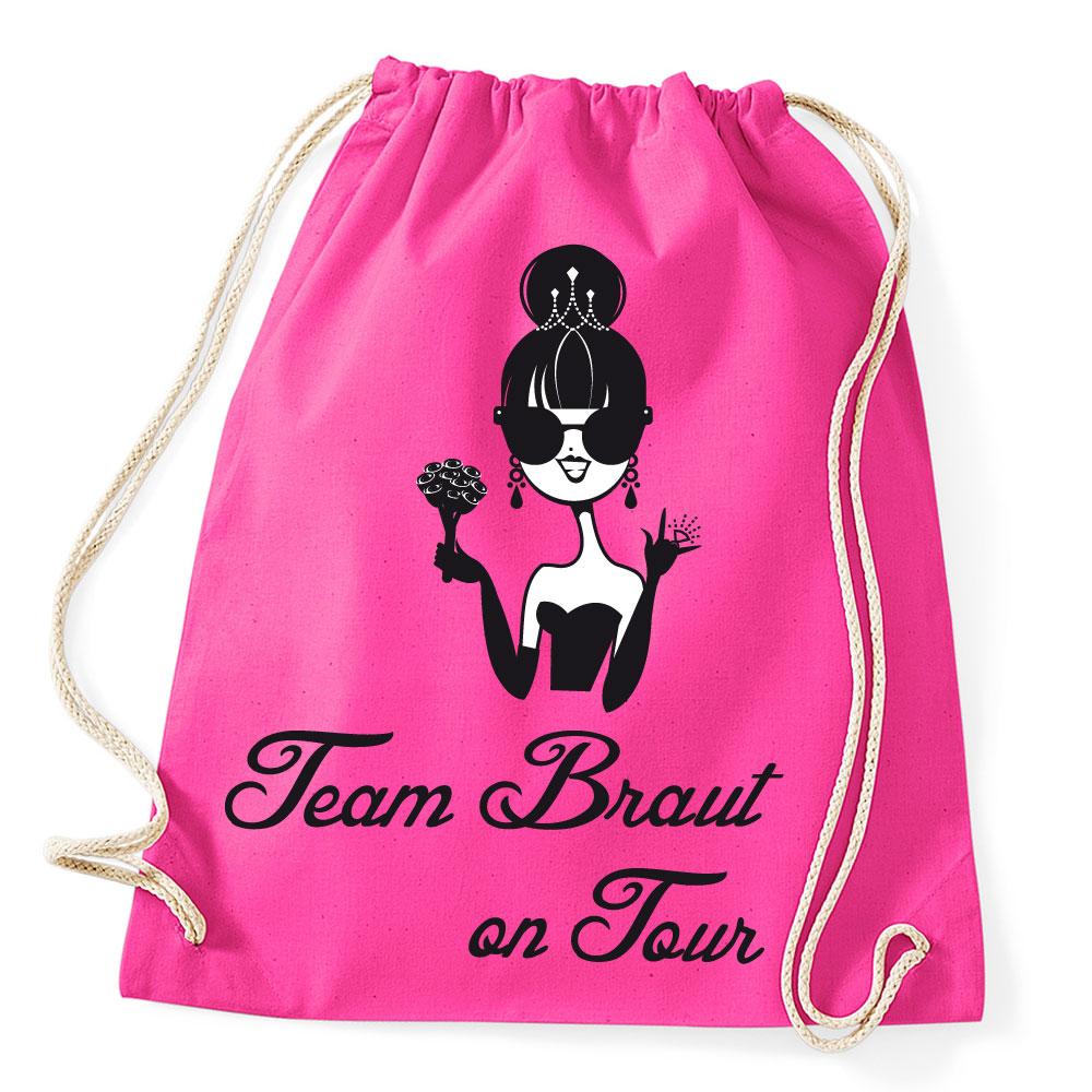 Pinkfarbener Team Braut on Tour Rucksack für den JGA