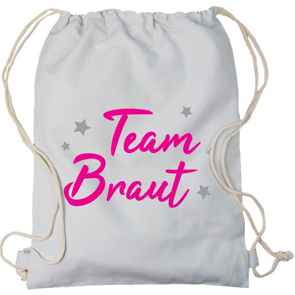 Hellgrauer Team Braut JGA Beutel mit Sternchen