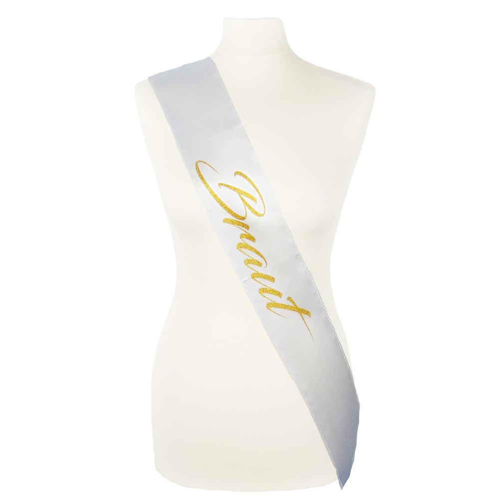 Weiße JGA Braut-Schärpe mit goldfarbenem Aufdruck