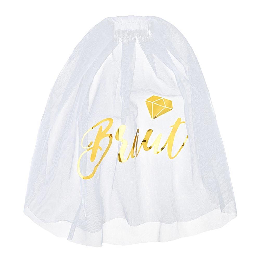 Weisser Junggesellenabschied-Schleier mit goldfarbener Braut-Aufschrift,