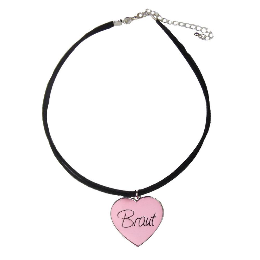 JGA Schmuck - Rosafarbene Braut-Halskette im Herz-Design