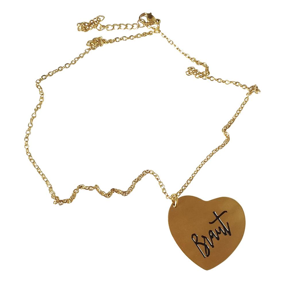 Goldfarbene JGA-Braut-Halskette mit Herz-Schmuck-Anhänger