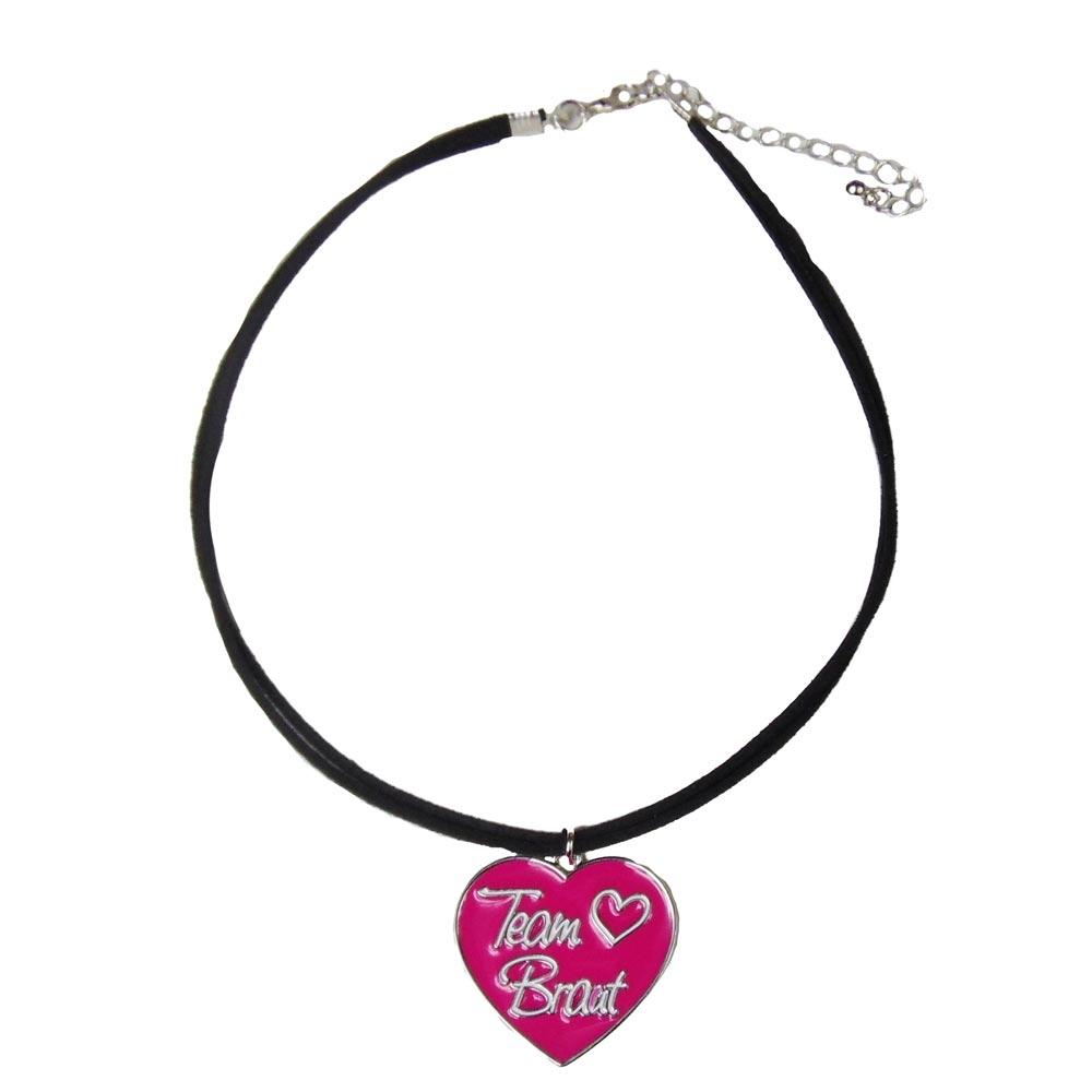JGA Schmuck - Pinkfarbene Team Braut-Halskette im Herz-Design