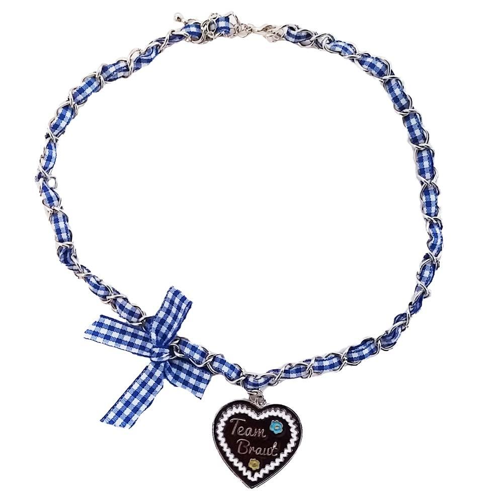 JGA Schmuck - Team Braut Halskette im Lebkuchenherz-Design - Blau