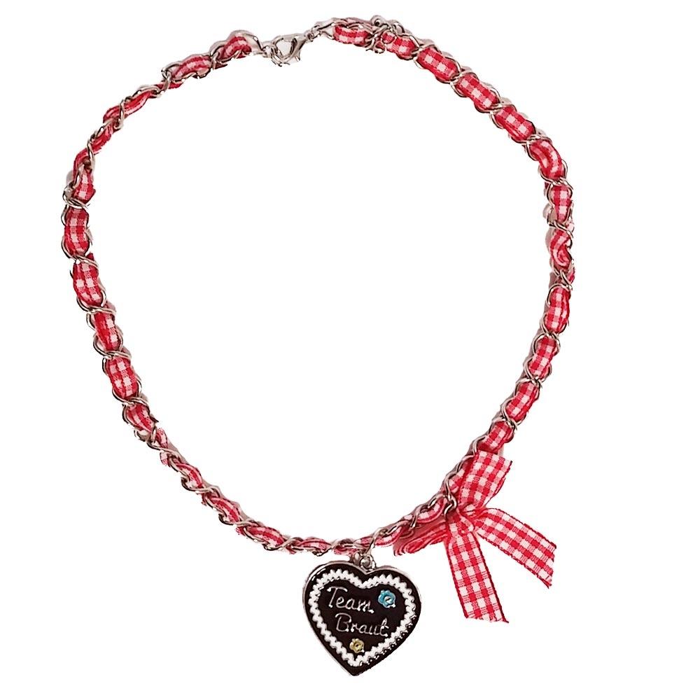 JGA Schmuck - Team Braut Halskette im Lebkuchenherz-Design - Rot