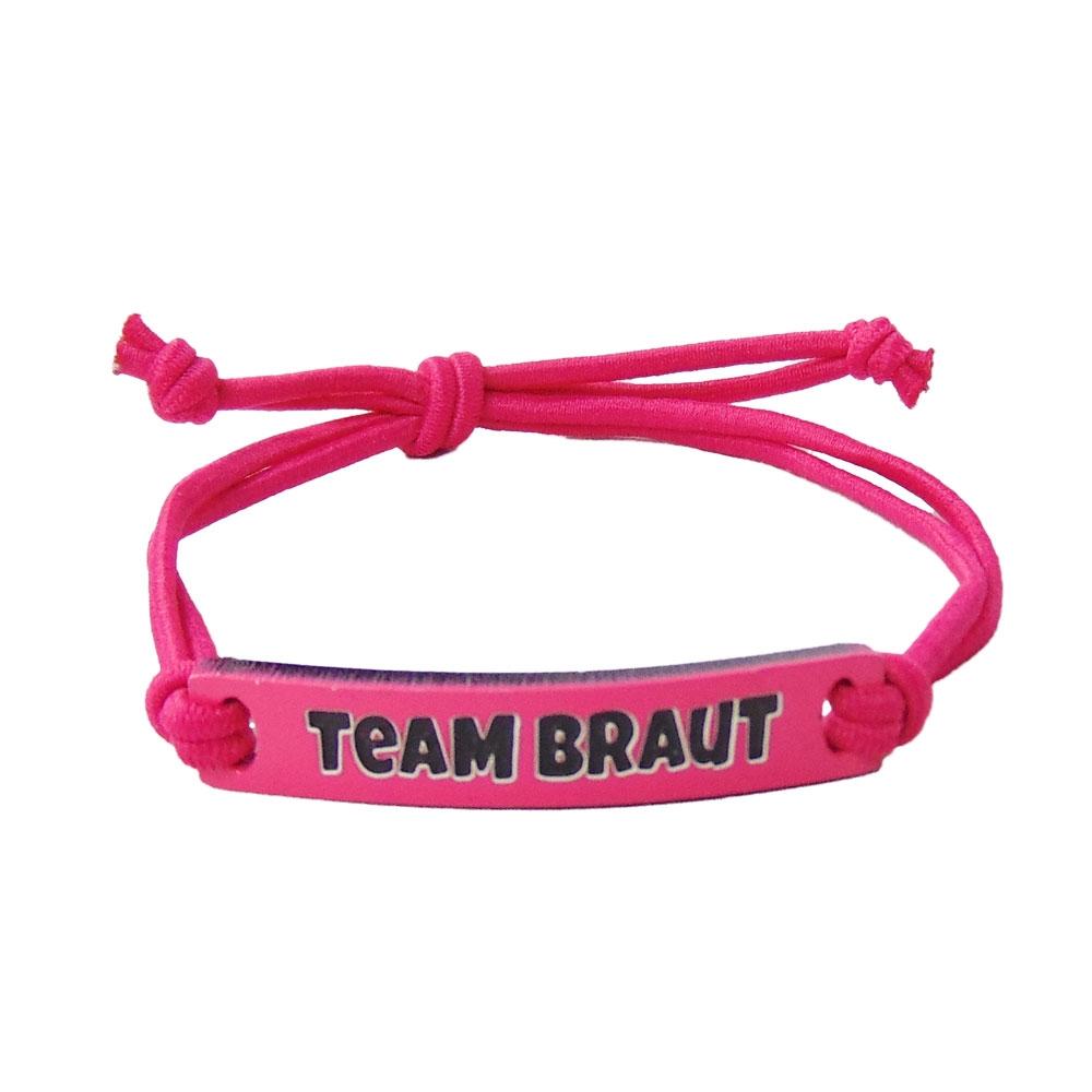 Pinkes JGA Schmuck-Armband mit Team Braut Schild