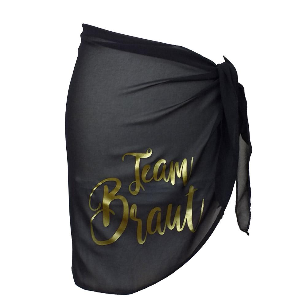 Schwarzes Team Braut-Hüfttuch für JGA im Schwimmbad