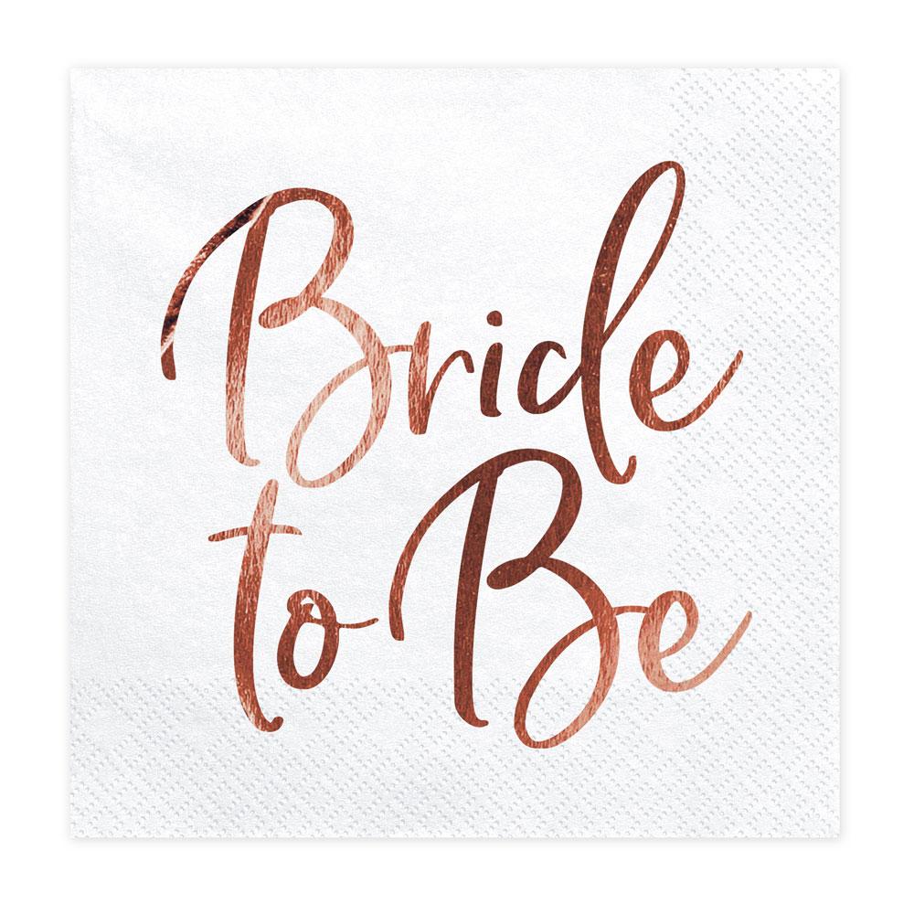 Weisse JGA Servietten mit Bride to be Schriftzug in Rosegold