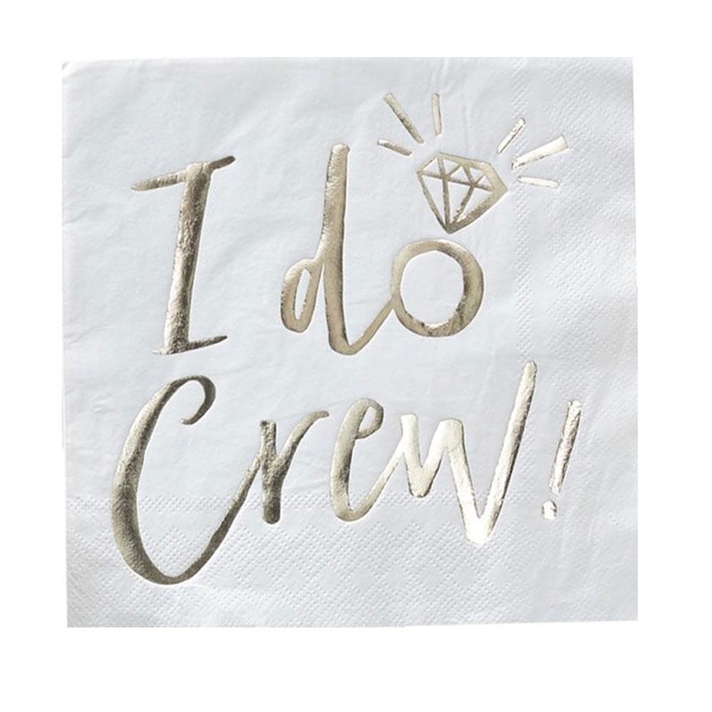 Junggesellenabschied - Weisse Servietten I Do Crew-Aufdruck