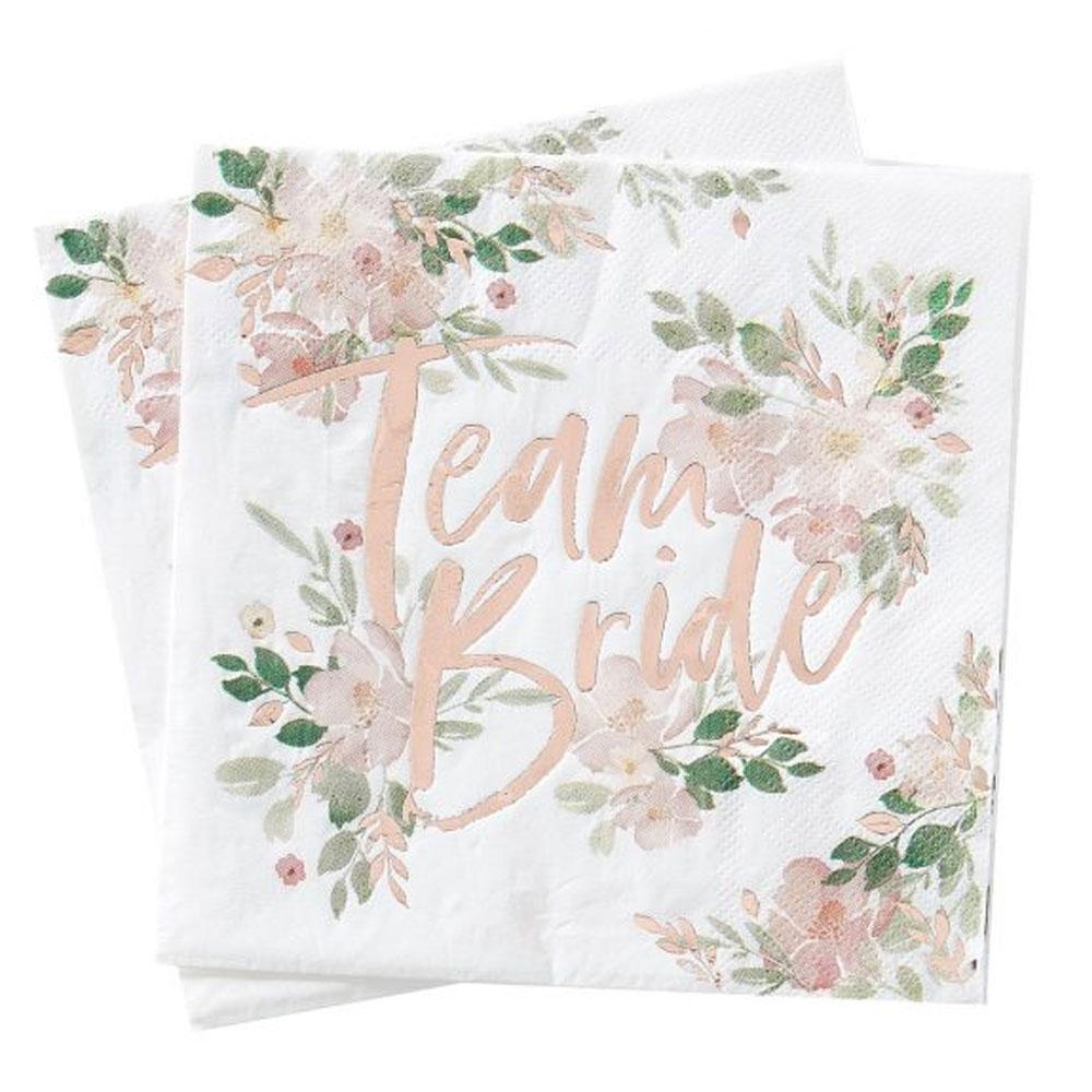 Team Bride-Servietten für den Junggesellinnenabschied im Blumen-Design