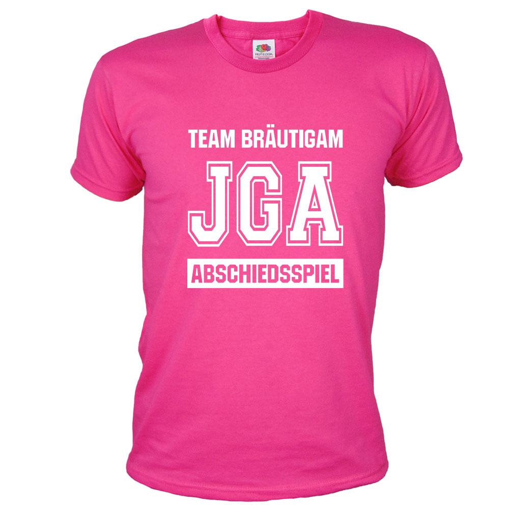Abschiedsspiel - Pinkfarbenes JGA T-Shirt im Football-Design