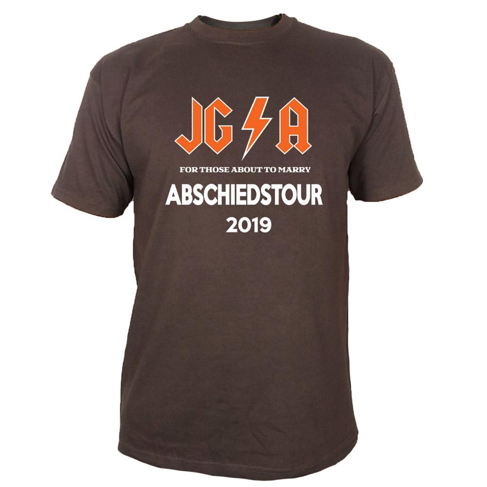 Braunes Maenner JGA-Shirt mit Hard Rock Abschiedstour-Motiv