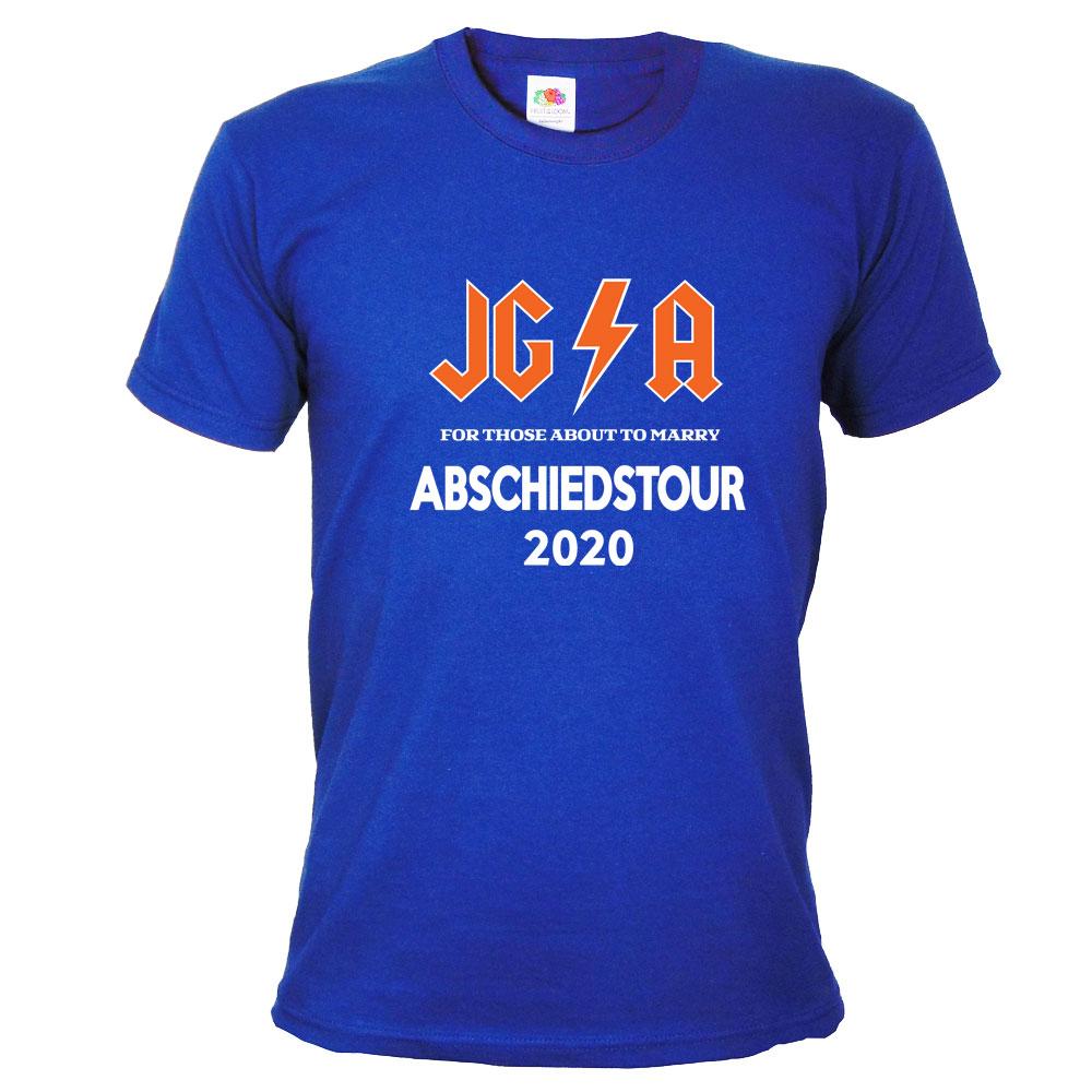 Blaues Männer JGA-Shirt mit Hard Rock Abschiedstour-Motiv