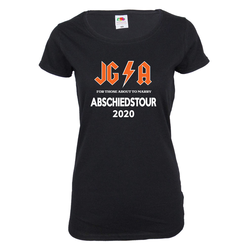 Schwarzes Damen JGA-Shirt mit Hard Rock Abschiedstour-Motiv